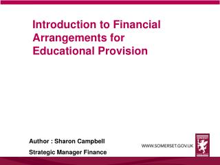 Introduction to Financial Arrangements for Educational Provision