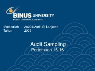 Audit Sampling Pertemuan 15-16