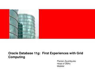 Oracle Database 11g:  First Experiences with Grid Computing