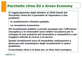 Pacchetto clima EU e Green Economy
