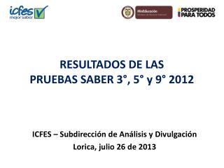 RESULTADOS DE LAS PRUEBAS SABER 3°, 5° y 9° 2012