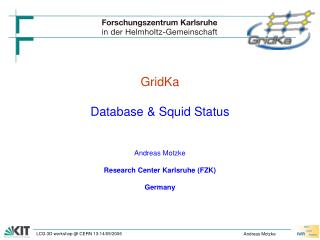 GridKa Database & Squid Status Andreas Motzke Research Center Karlsruhe (FZK) Germany