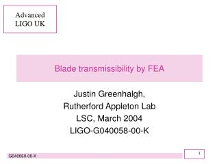 Blade transmissibility by FEA