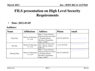 FILS presentation on High Level Security Requirements
