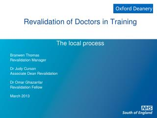 Revalidation of Doctors in Training