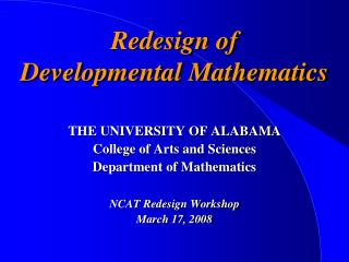Redesign of  Developmental Mathematics