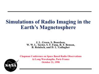 Simulations of Radio Imaging in the Earth's Magnetosphere