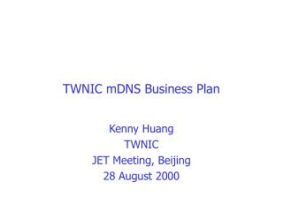 TWNIC mDNS Business Plan