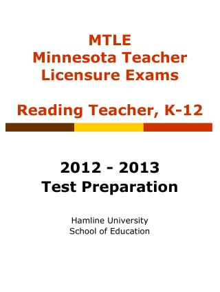 MTLE Minnesota Teacher Licensure Exams  Reading Teacher, K-12