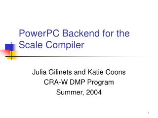PowerPC Backend for the Scale Compiler