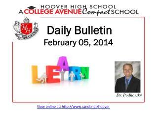 Daily Bulletin February 05, 2014