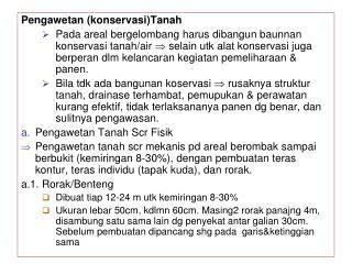 Pengawetan  (konservasi) Tanah