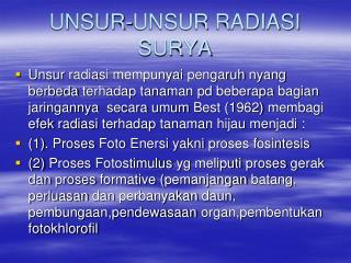 UNSUR-UNSUR RADIASI SURYA