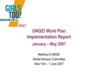 UNGEI Work Plan  Implementation Report January � May 2007