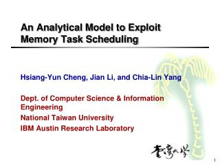 An Analytical Model to Exploit Memory Task Scheduling