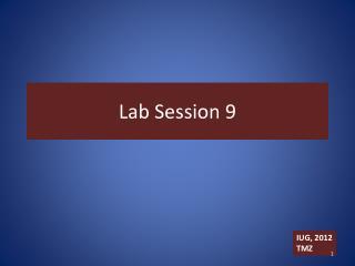 Lab Session 9