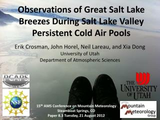 Observations of Great Salt Lake Breezes During Salt Lake Valley Persistent Cold Air Pools