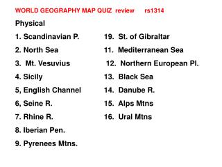 WORLD GEOGRAPHY MAP QUIZ  review      rs1314  Physical