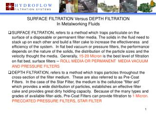 SURFACE FILTRATION Versus DEPTH FILTRATION In Metalworking Fluids