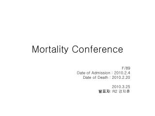 Mortality Conference