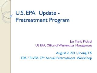 U.S. EPA  Update - Pretreatment Program