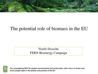 The potential role of biomass in the EU