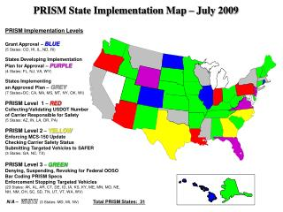 PRISM Implementation Levels Grant Approval –  BLUE (5 States: CO, HI, IL, ND, RI)