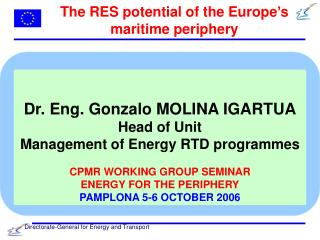 The RES potential of the Europe's maritime periphery