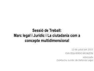 Sessi� de Treball: Marc legal i Jur�dic i La ciutadania com a concepte multidimensional