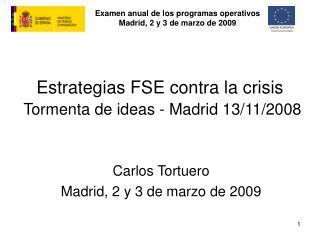 Estrategias FSE contra la crisis Tormenta de ideas - Madrid 13/11/2008