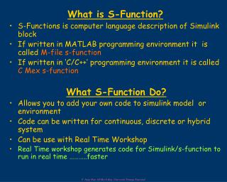 What is S-Function