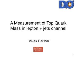 A Measurement of Top Quark Mass in lepton + jets channel