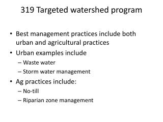 319 Targeted watershed program