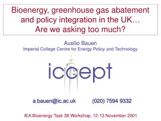 Ausilio Bauen Imperial College Centre for Energy Policy and Technology