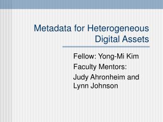Metadata for Heterogeneous Digital Assets