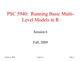 PSC 5940:  Running Basic Multi-Level Models in R