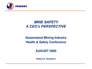 MINE SAFETY  A CEO's PERSPECTIVE