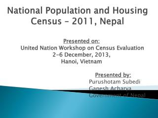 National Population and Housing Census – 2011, Nepal