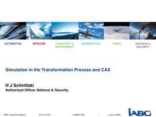 Simulation in the Transformation Process and CAX H J Schirlitzki