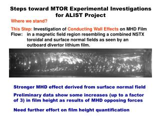 Steps toward MTOR Experimental Investigations for ALIST Project