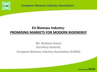 EU Biomass Industry :  PROMISING MARKETS FOR MODERN BIOENERGY