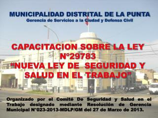 """CAPACITACION SOBRE LA LEY Nº29783  """"NUEVA LEY DE  SEGURIDAD Y SALUD EN EL TRABAJO"""""""