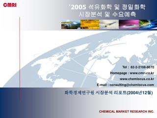 '2005 석유화학 및 정밀화학 시장분석 및 수요예측