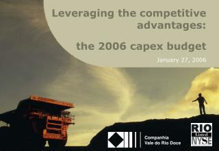 the 2006 capex budget January 27, 2006