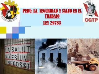 PERU: LA  SEGURIDAD Y SALUD EN EL TRABAJO LEY 29783