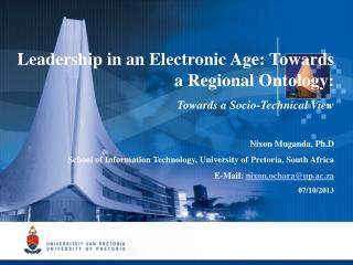 Leadership in an Electronic Age: Towards a Regional Ontology : Towards a Socio-Technical View