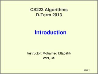 CS223 Algorithms D-Term 2013