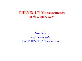 PHENIX J/ Y  Measurements  at  Ö s = 200A GeV