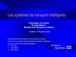 Les syst�mes de transport intelligents