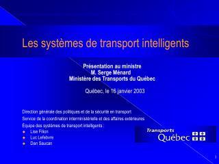 Les systèmes de transport intelligents